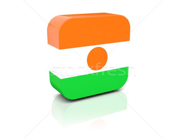 квадратный икона флаг Нигер отражение белый Сток-фото © MikhailMishchenko