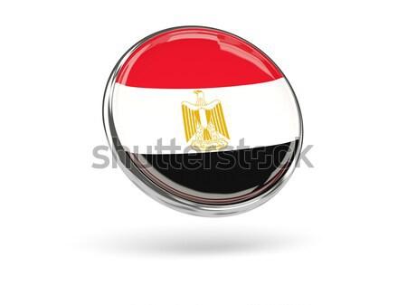 Stock photo: Round icon of flag of egypt