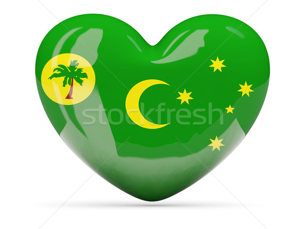 Heart shaped icon with flag of cocos islands Stock photo © MikhailMishchenko