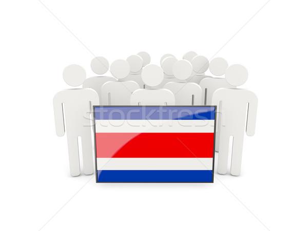 Personas bandera Costa Rica aislado blanco multitud Foto stock © MikhailMishchenko