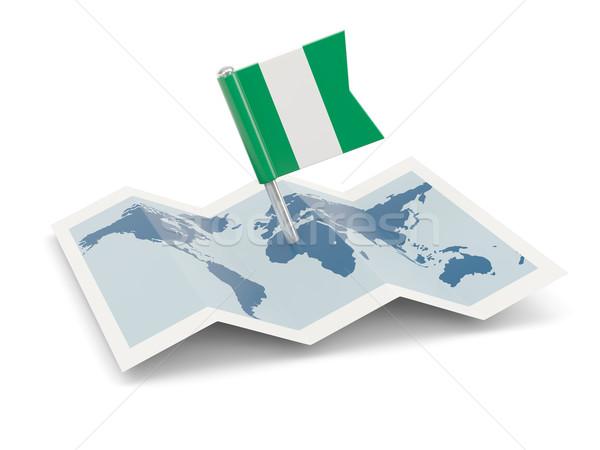 Harita bayrak Nijerya yalıtılmış beyaz Stok fotoğraf © MikhailMishchenko