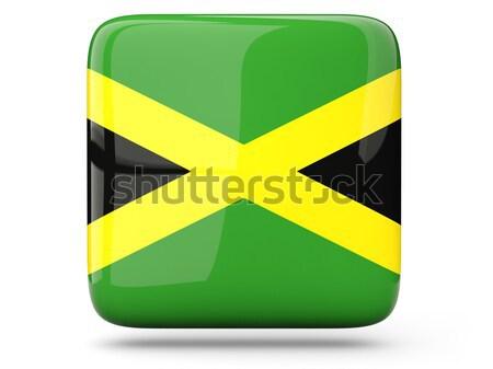 Kare etiket bayrak Jamaika yalıtılmış beyaz Stok fotoğraf © MikhailMishchenko