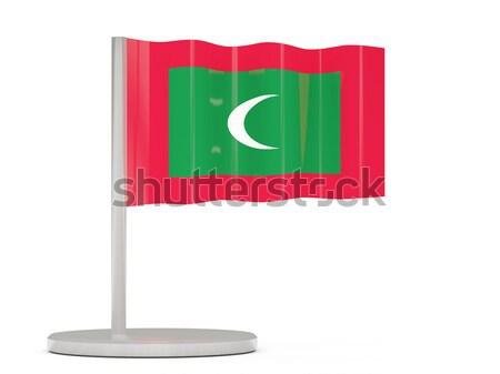 квадратный Label флаг Мальдивы изолированный белый Сток-фото © MikhailMishchenko