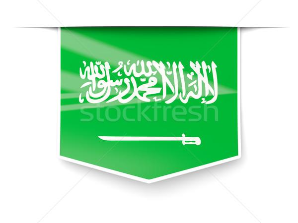 Praça etiqueta bandeira Arábia Saudita isolado branco Foto stock © MikhailMishchenko