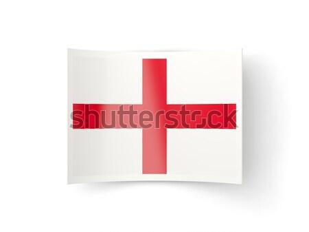 Bayrak etiket İngiltere yalıtılmış beyaz imzalamak Stok fotoğraf © MikhailMishchenko