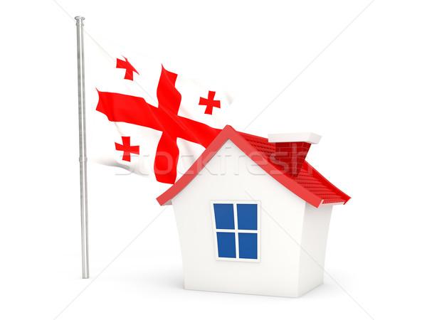 дома флаг Грузия изолированный белый домой Сток-фото © MikhailMishchenko