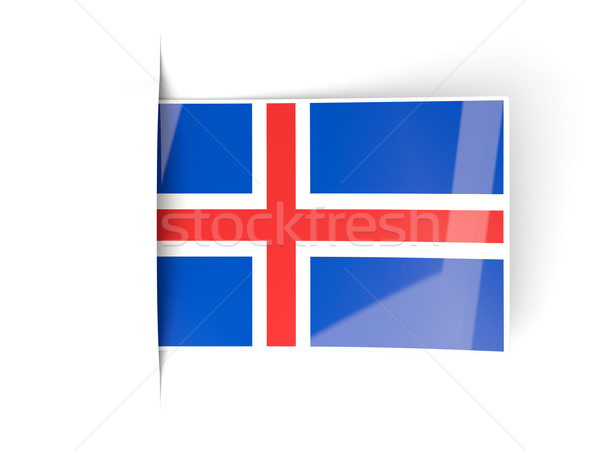 Square label with flag of iceland Stock photo © MikhailMishchenko
