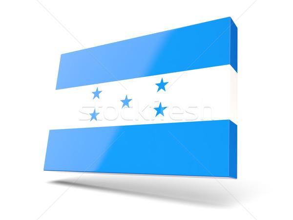 Praça ícone bandeira Honduras isolado branco Foto stock © MikhailMishchenko