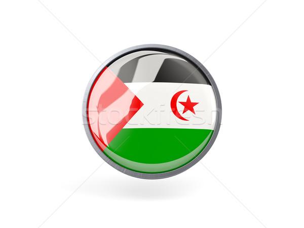Icon vlag westerse sahara metaal frame Stockfoto © MikhailMishchenko