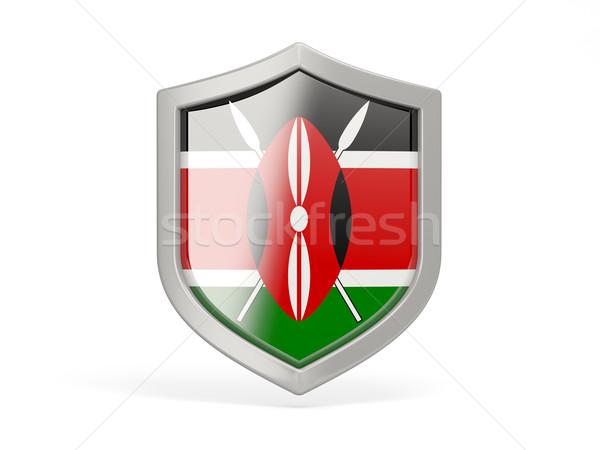Сток-фото: щит · икона · флаг · Кения · изолированный · белый