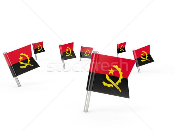 Kare bayrak Tiftik dokuma yalıtılmış beyaz ülke Stok fotoğraf © MikhailMishchenko
