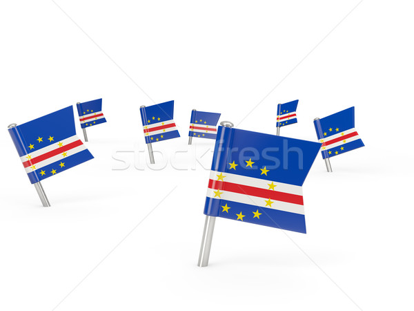 Square pins with flag of cape verde Stock photo © MikhailMishchenko