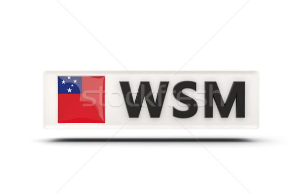 Vierkante icon vlag Samoa iso code Stockfoto © MikhailMishchenko