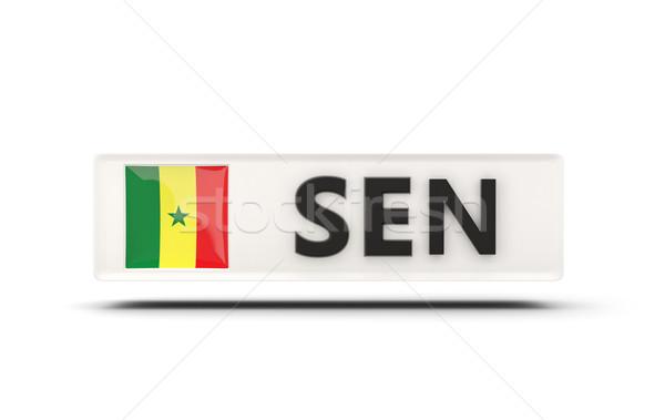 Praça ícone bandeira Senegal iso código Foto stock © MikhailMishchenko