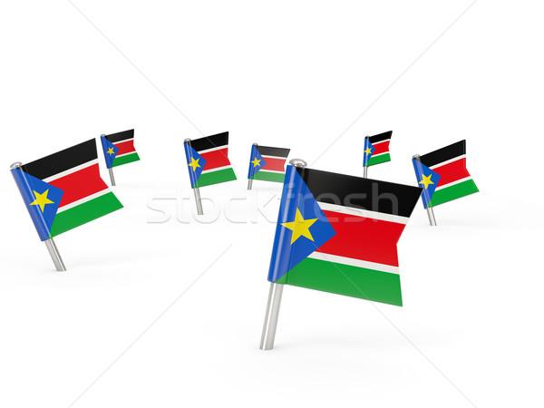 Square pins with flag of south sudan Stock photo © MikhailMishchenko