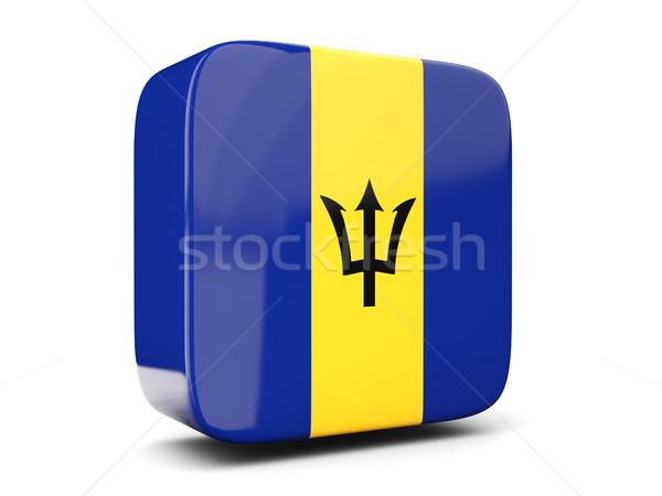 Square icon with flag of barbados square. 3D illustration Stock photo © MikhailMishchenko