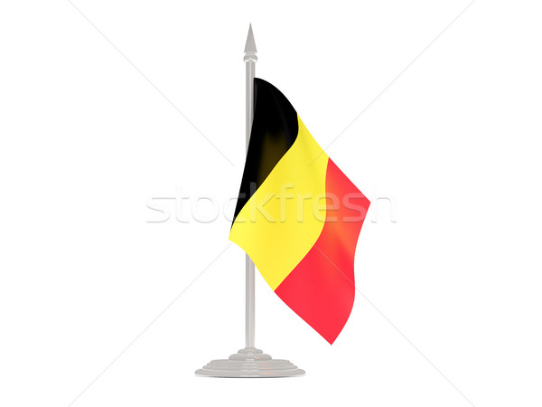 Banderą Belgia maszt 3d odizolowany biały Zdjęcia stock © MikhailMishchenko