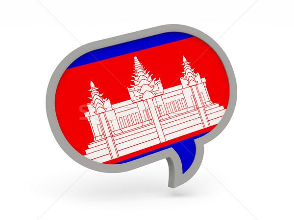 Chat ikon zászló Kambodzsa izolált fehér Stock fotó © MikhailMishchenko
