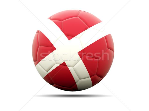 Voetbal vlag Denemarken 3d illustration voetbal sport Stockfoto © MikhailMishchenko