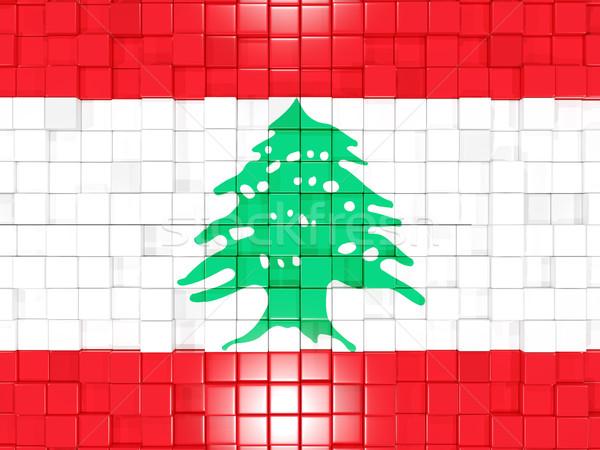 Kare bayrak Lübnan 3d illustration mozaik Stok fotoğraf © MikhailMishchenko