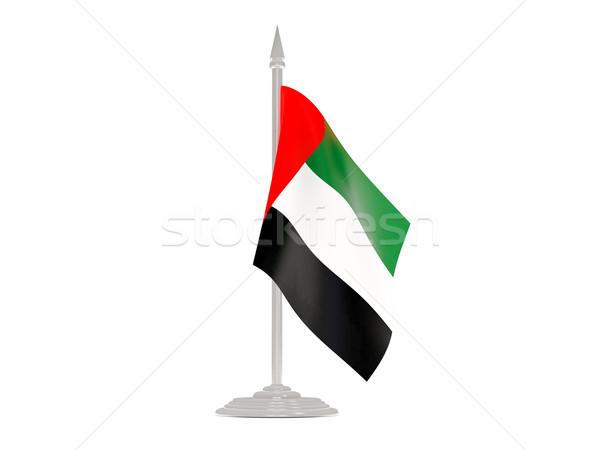 Pavillon Émirats arabes unis mât rendu 3d isolé blanche Photo stock © MikhailMishchenko