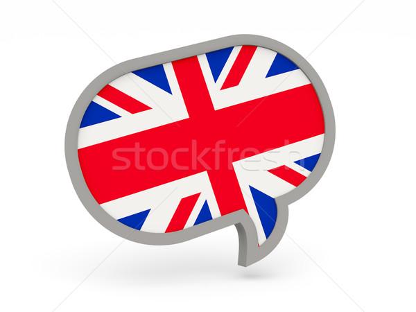 Conversar ícone bandeira Reino Unido isolado branco Foto stock © MikhailMishchenko