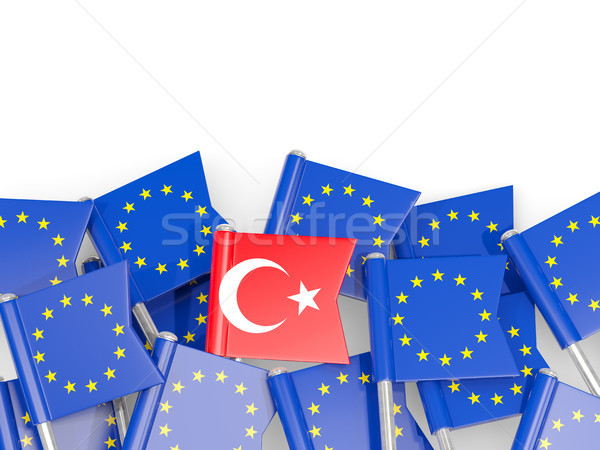 Flag pins of Turkey and EU isolated on white Stock photo © MikhailMishchenko