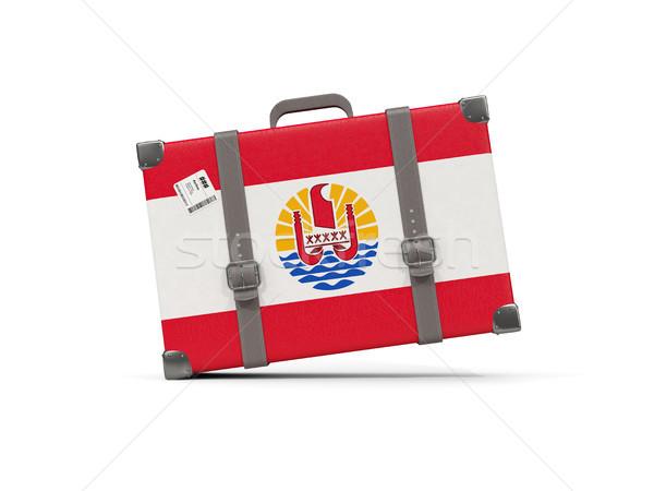 Bagaglio bandiera francese polinesia valigia isolato Foto d'archivio © MikhailMishchenko
