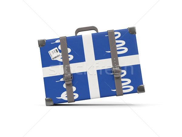 Luggage with flag of martinique. Suitcase isolated on white Stock photo © MikhailMishchenko