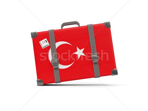 Equipaje bandera Turquía maleta aislado blanco Foto stock © MikhailMishchenko