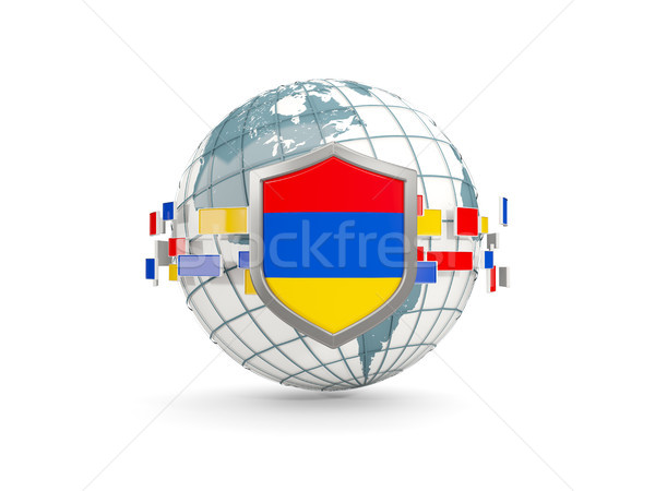 Globo escudo bandeira Armênia isolado branco Foto stock © MikhailMishchenko