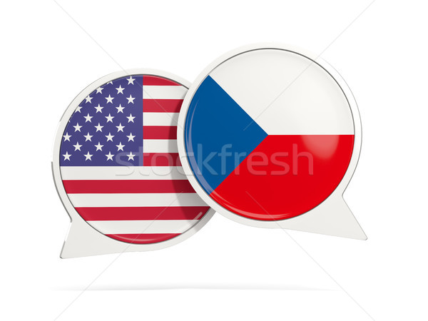 Chat bubbles of USA and Czech Republic isolated on white Stock photo © MikhailMishchenko