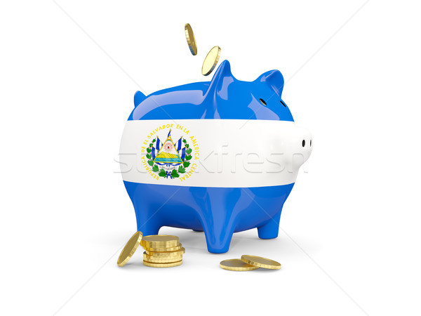 Fat piggy bank with fag of el salvador Stock photo © MikhailMishchenko
