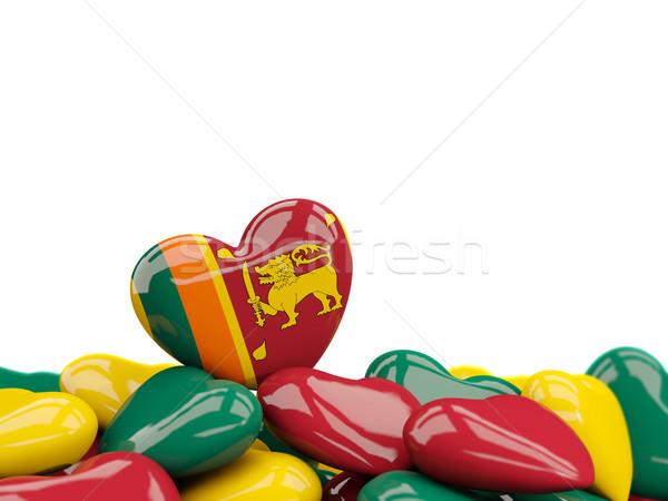 Szív zászló Sri Lanka felső szívek izolált Stock fotó © MikhailMishchenko