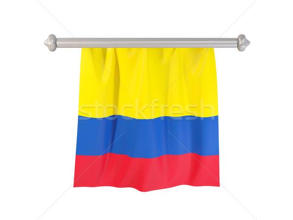 Zászló Colombia izolált fehér 3d illusztráció címke Stock fotó © MikhailMishchenko