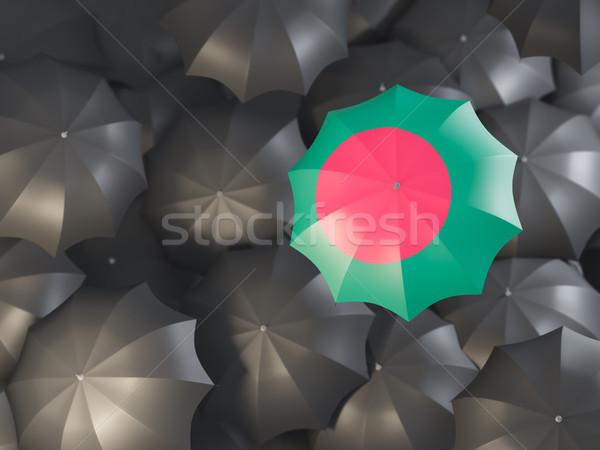 Esernyő zászló Banglades felső fekete esernyők Stock fotó © MikhailMishchenko