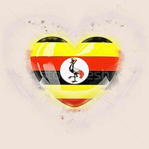 Coeur pavillon Ouganda grunge 3d illustration Voyage Photo stock © MikhailMishchenko