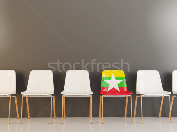 Silla bandera Myanmar blanco sillas Foto stock © MikhailMishchenko