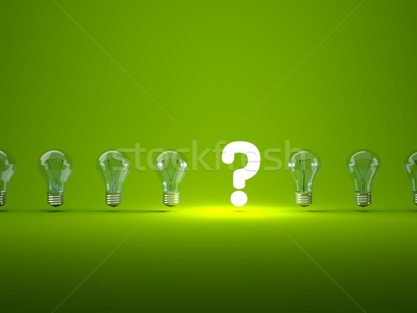 Stock photo: Luminous question sign with light bulbs