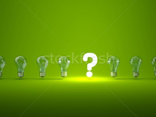 Stok fotoğraf: Soru · imzalamak · ampuller · cam · yeşil · elektrik