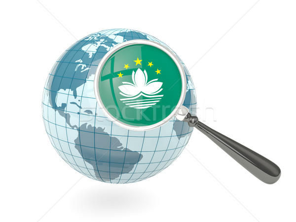 Magnified flag of macao with blue globe Stock photo © MikhailMishchenko