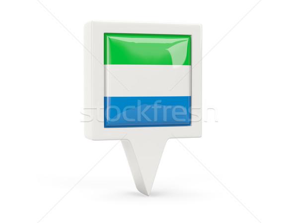 Square flag icon of sierra leone Stock photo © MikhailMishchenko