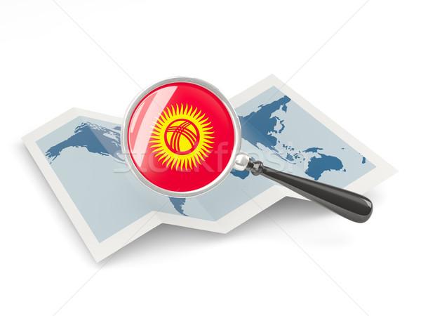 Bayrak Kırgızistan harita beyaz Stok fotoğraf © MikhailMishchenko
