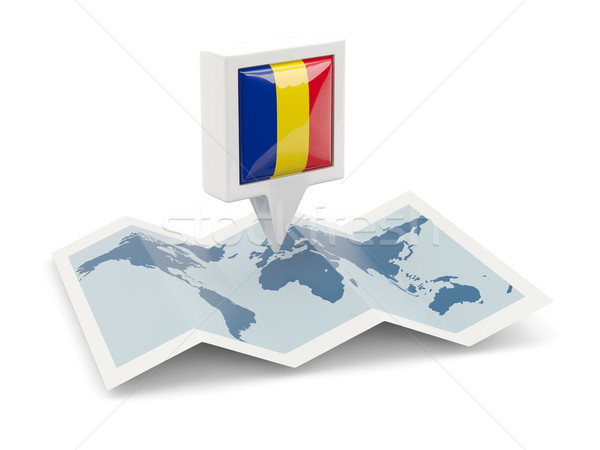 Square pin with flag of romania on the map Stock photo © MikhailMishchenko