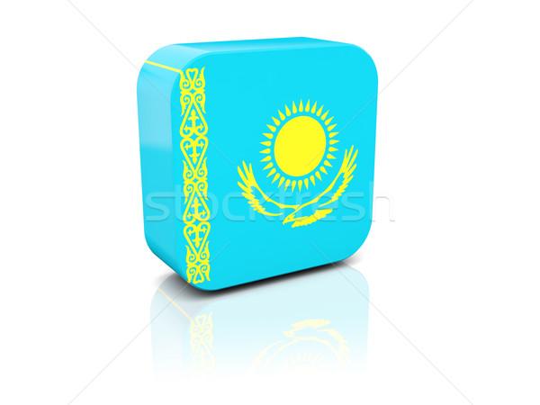 Platz Symbol Flagge Kasachstan Reflexion weiß Stock foto © MikhailMishchenko