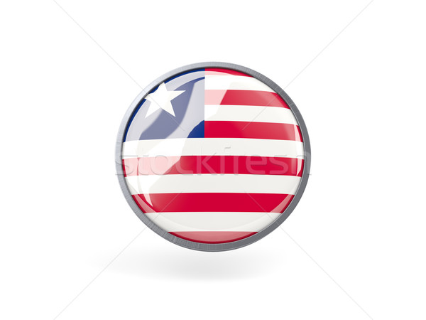 ícone bandeira Libéria metal quadro viajar Foto stock © MikhailMishchenko
