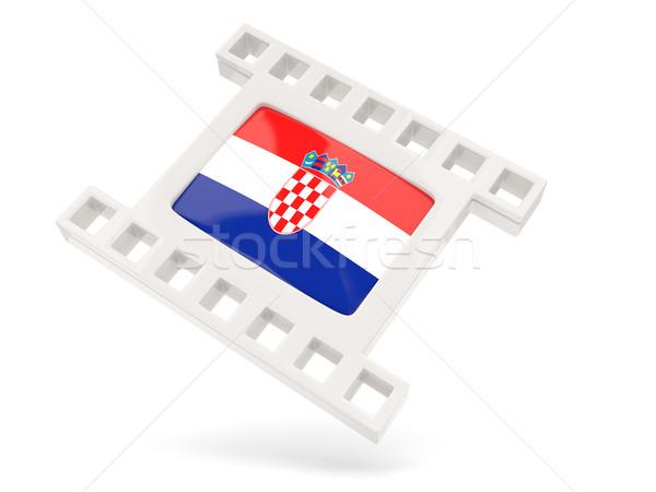 Película icono bandera Croacia aislado blanco Foto stock © MikhailMishchenko