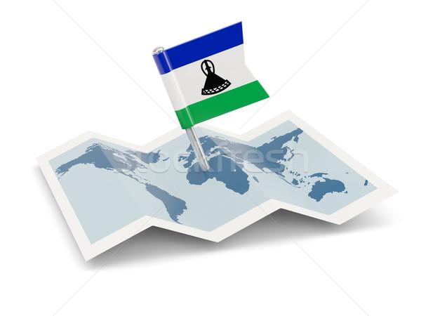 Pokaż banderą Lesotho odizolowany biały Zdjęcia stock © MikhailMishchenko