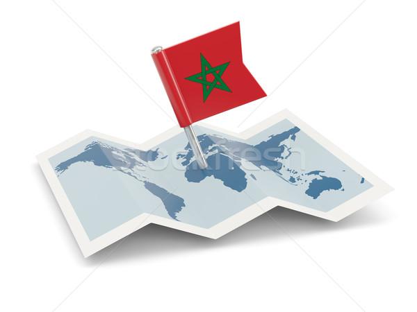 Carte pavillon Maroc isolé blanche Photo stock © MikhailMishchenko