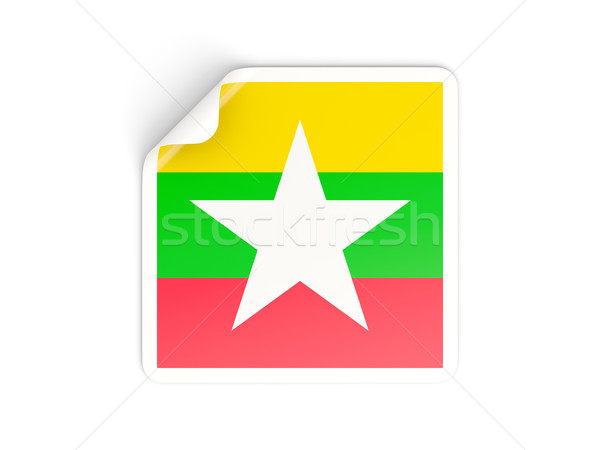 Square sticker with flag of myanmar Stock photo © MikhailMishchenko